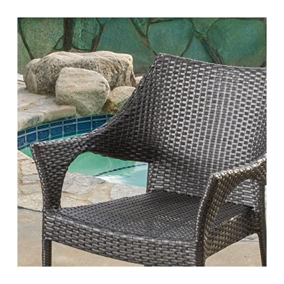 Alameda | Outdoor Wicker Chairs | Set of 2 | Perfect For Patio | in Grey - Includes: two (2) stacking chairs material: PE and iron color: Grey no assembly required Chair dimensions: 24.00 inches deep x 24.50 inches wide x 33.00 inches high seat width: 18.50 inches seat depth: 18.25 inches seat Height: 16.60 inches Brand name: Christopher Knight Home Made in China - patio-furniture, patio-chairs, patio - 61FGJOWCnuL. SS570  -