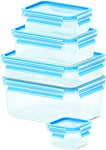 EMSA 512753 Clip & Close 5 Piece Set of Storage Boxes, Various Sizes, Transparent/Blue