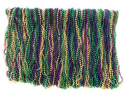 Mardi Gras Beads 33 inch 7mm, 10 Dozen, 120 Pieces (Purple Green Gold)