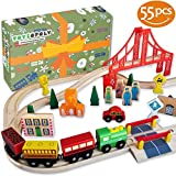 FLASH SALE | Wooden Train Tracks – Deluxe 55 Pcs Set With 3 Destination Fits Thomas, Brio, Ikea, Chuggington, Imaginarium, Melissa and Doug + Free Gift Box
