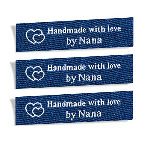 Wunderlabel Handmade with Love by Nana Granny Mix Thread Craft Art Fashion Woven Ribbon Ribbons Tag Clothing Sewing Sew Clothes Garment Fabric Material Embroidered Label Tags, White on Blue, 25 Labels ()
