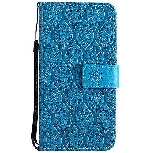 Leder Schutzhülle für iPhone 8 Plus / iPhone 7 Plus Hülle, Leder Handyhülle Tasche Case für iPhone 8 Plus / iPhone 7 Plus, ZCRO PU Lederhülle Handytasche Wallet Brieftasche Handyhüllen Cover Flip Case Blau
