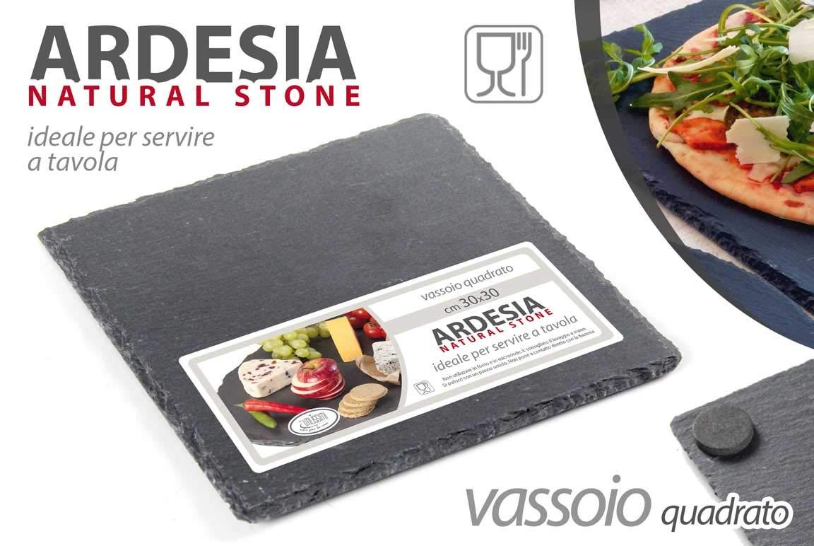 30 cm OSE-749810 Gicos Vassoio Quadrato Ardesia Natural Stone Piatto da Portata 30