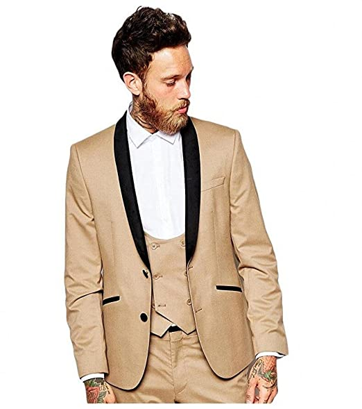 Amazon.com: botong 3 piezas champaña Hombres Trajes boda ...