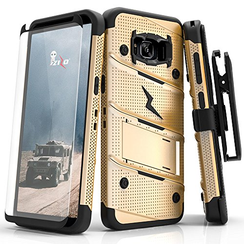 Zizo Bolt Series Compatible with Samsung Galaxy S8 Active Case Military Grade Drop Tested with Tempered Glass Screen Protector Holster Gold Black