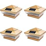 iGlow 4 Pack Copper Outdoor 4 x 4 Solar 5-LED Post Deck Cap Square Fence Light Landscape Lamp PVC Vinyl Wood Bronze