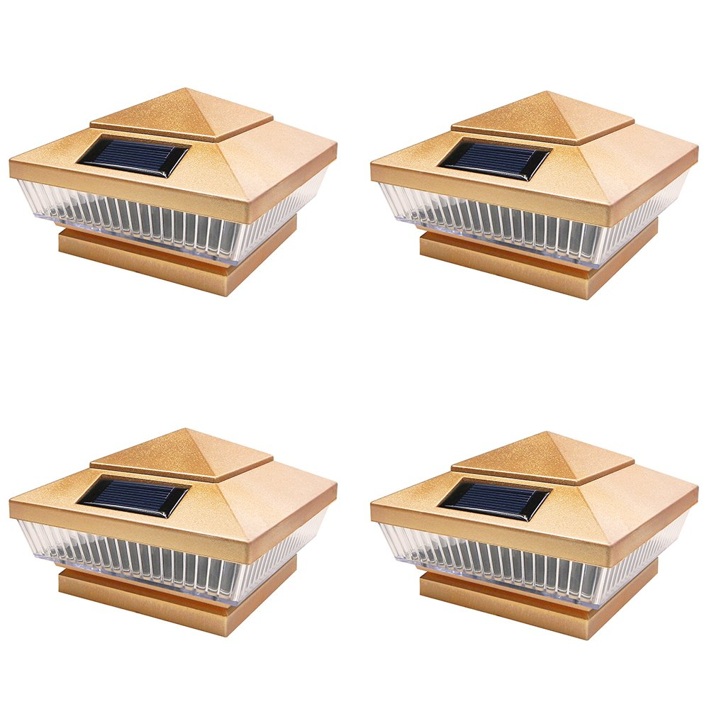 iGlow 4 Pack Copper Outdoor 4 x 4 Solar 5-LED Post Deck Cap Square Fence Light Landscape Lamp PVC Vinyl Wood Bronze