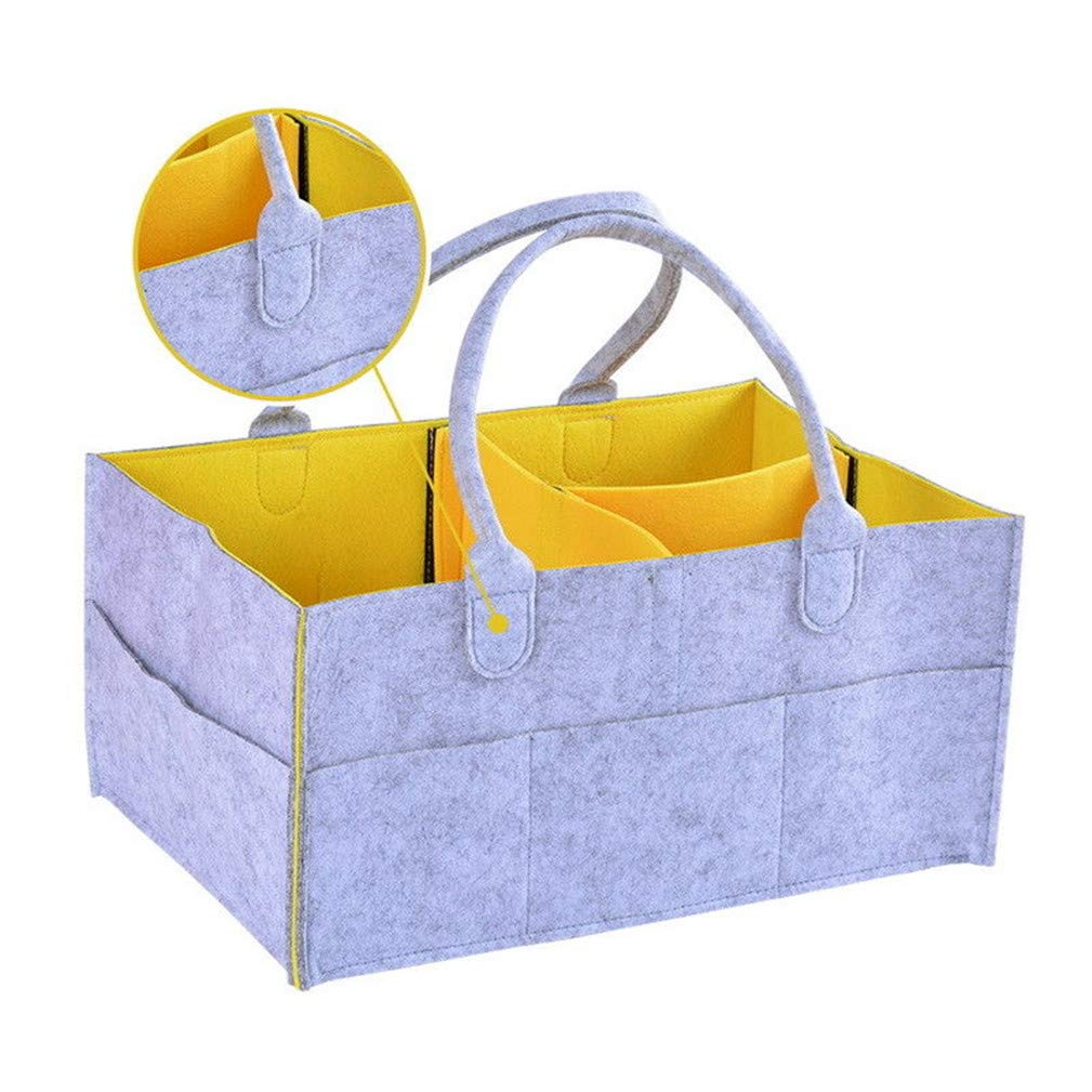 Yellow Enipate Felt Infant Baby Diaper Storage Nappy Nursery Organizer Basket Caddy Wipe Bag Diaper Storage Bin for Changing Table