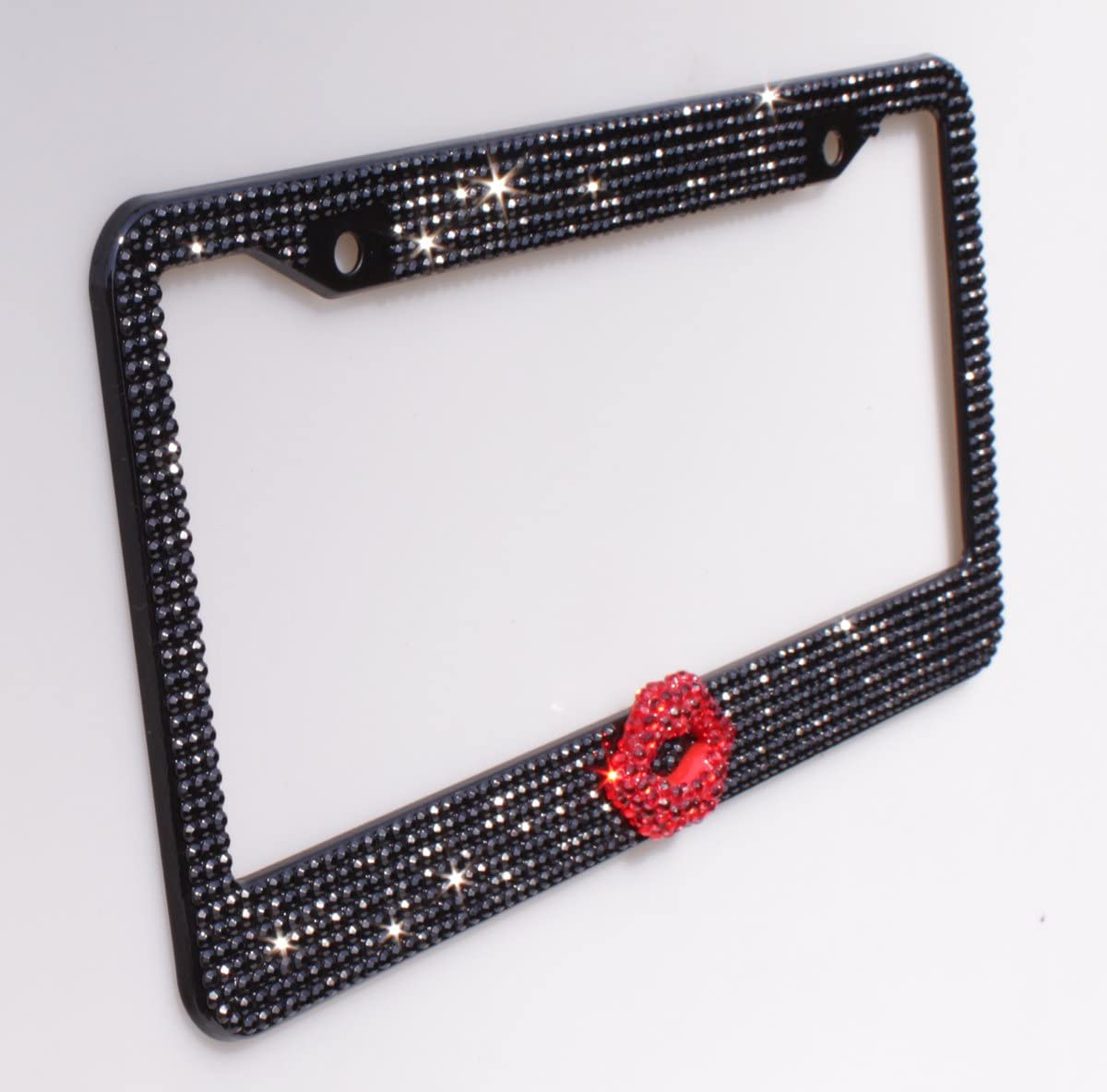 Follicomfy 2PCS Pure Handmade Bling Bling Rhinestones Stainless Steel Car License Plate Frame with Screws Caps,Purple