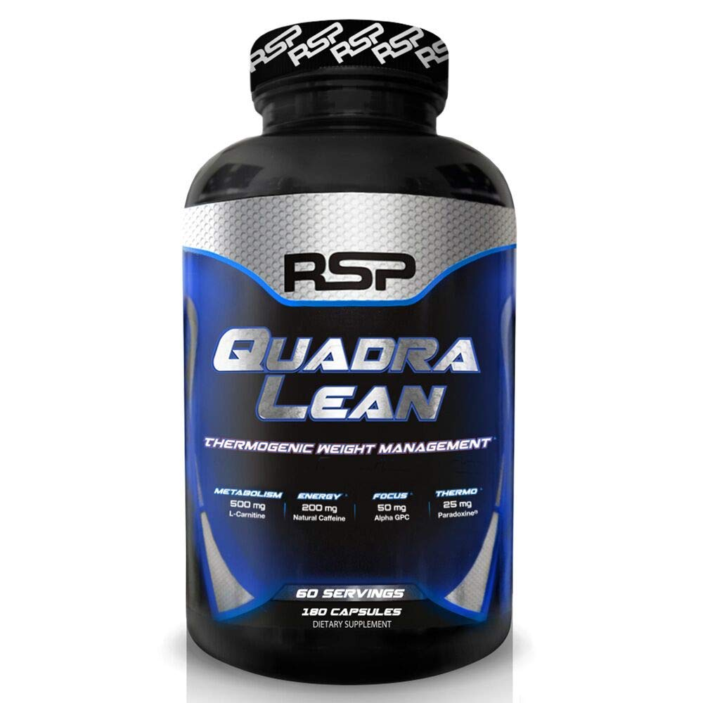 RSP QuadraLean Thermogenic Fat Burner for Men & Women, Weight Loss Supplement, Crash-Free Energy, Metabolism Booster & Appetite Suppressant, Diet Pills, 60 Serv (Packaging May Vary) by RSP Nutrition