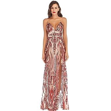 Amazon.com  Gooldu Women Sexy Deep V Neck Maxi Sequin Halter Backless  Printed High Slit Split Long Dress  Clothing b795ec830