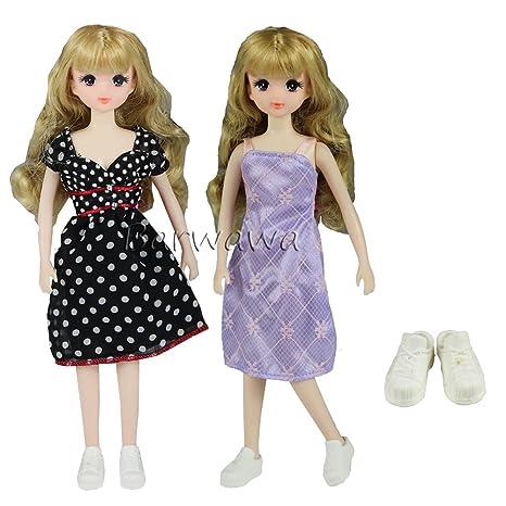 1b89a73810da7 「Barwawa」2枚セット ドール用服 セット ブライス用ドレス 洋服 可愛い ワンピース