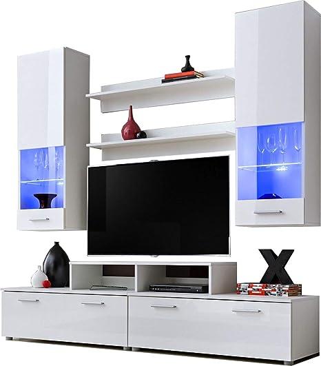 ExtremeFurniture Alice Mueble para TV, Carcasa en Negro Mate/Frente en Blanco Alto Brillo + LED Azul: Amazon.es: Hogar