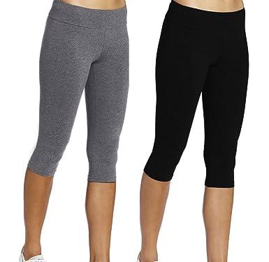 dfb749a9d004d9 iLoveSIA Women's Tights Capri Workout Leggings 2Pack Black+Grey Size S