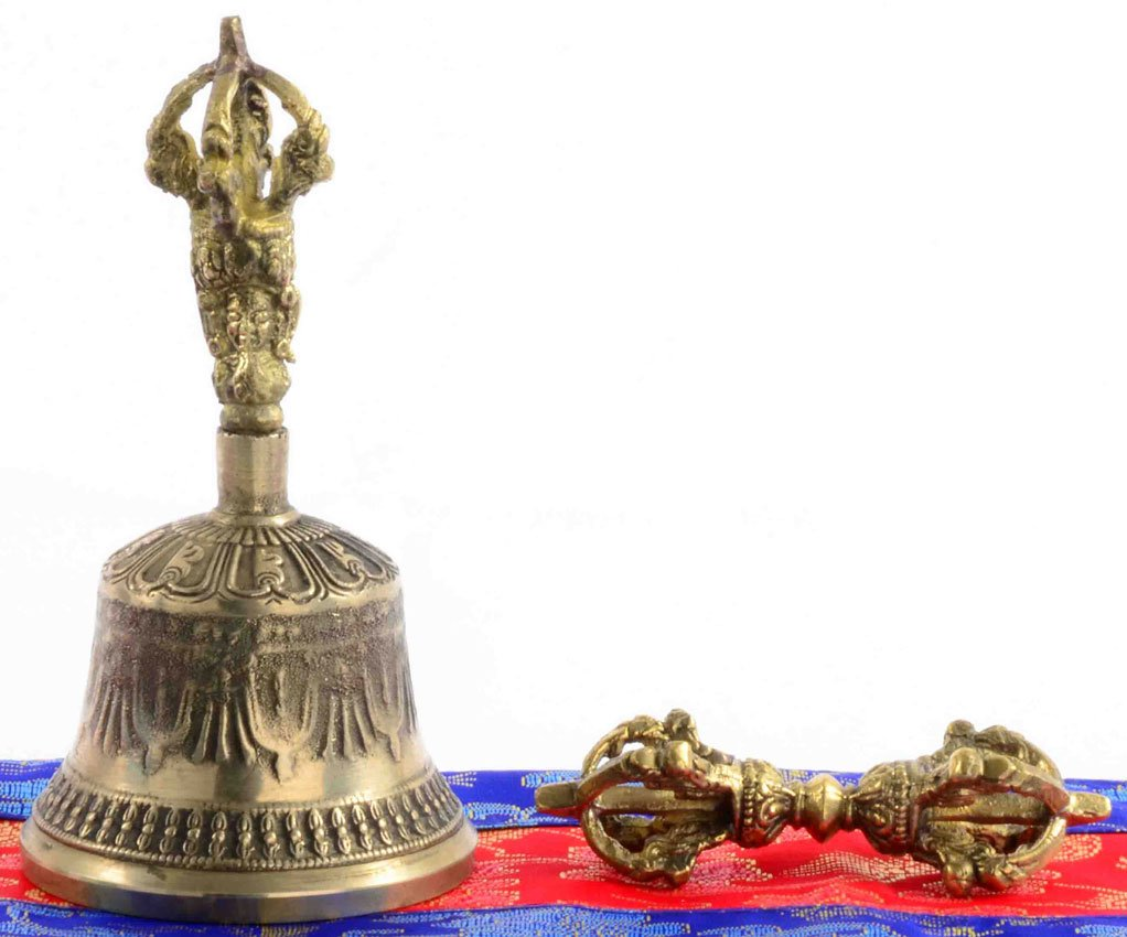 BUDDHAFIGUREN Ghanta - Golden bell 13cm with Dorje (Vajra) 9cm with Tibetan bell cover 15cm BUDDHAFIGUREN/Billy Held