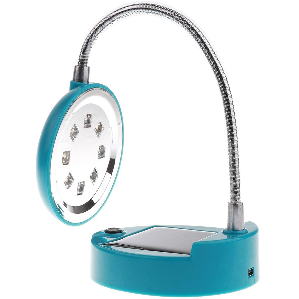 Baoblaze Tragbare & Flexible 8 LED Solar Tischlampe, USB wiederaufladbare Schwanenhals Tischleuchte - Blau