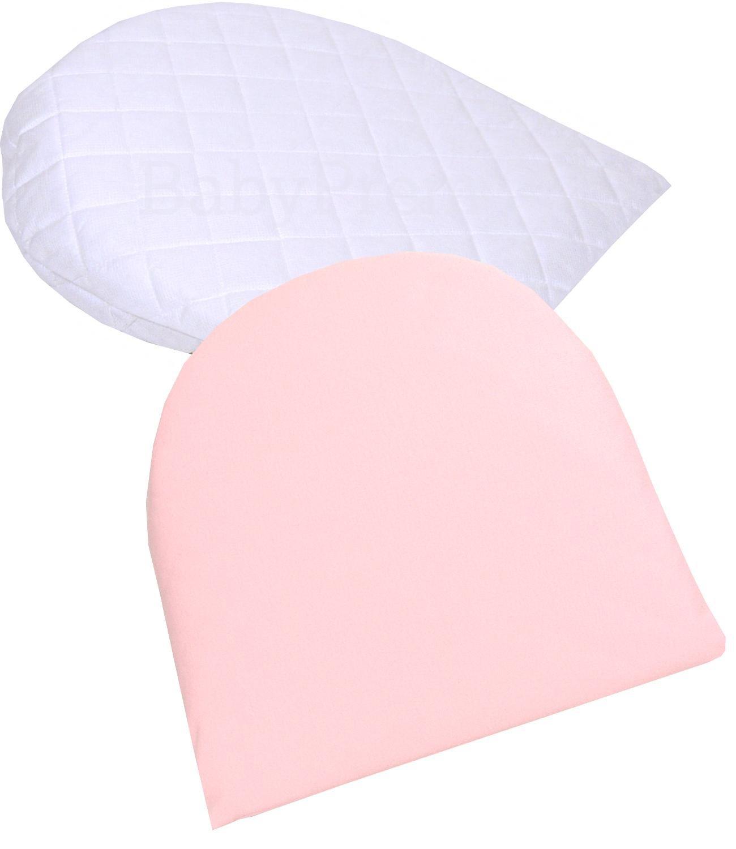 """BabyPrem Baby Anti-Reflux Pram Moses Wedge Pillow & Pillowcase 11 x 12"""" Pink"""