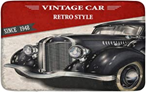 "Adowyee 20""x30"" Bath Mat 1950S Vintage Car 1940S Antique Auto Retro 1930S 1960S Cozy Bathroom Decor Bath Rug with Non Slip Backing"