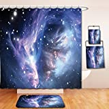 Nalahome Bath Suit: Showercurtain Bathrug Bathtowel Handtowel Space Decorations Collection Mysterious Nebula Gas Cloud in Deep Ouuter Space with Star Cluster Universe Solar Navy Purple