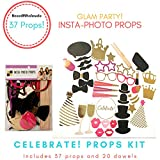 Glam Party Themed Photo Booth Props Kit - All That Glitters - 37 Props & 20 Dowels | Celebrate!