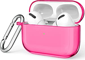 Valkit Compatible with Airpods Pro Case Cover, Clear Airpod Pro Soft TPU Protective Case 2019 with Keychain Shockproof Cover Designed for Apple Airpods Pro Charging Case 3RD Gen - Hot Pink