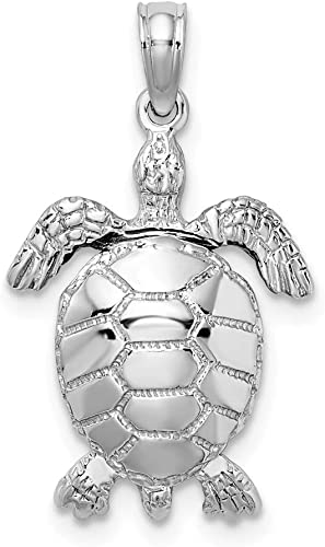 Sterling Silver Diamond-cut 3-D Starfish Polished Solid Charm Pendant
