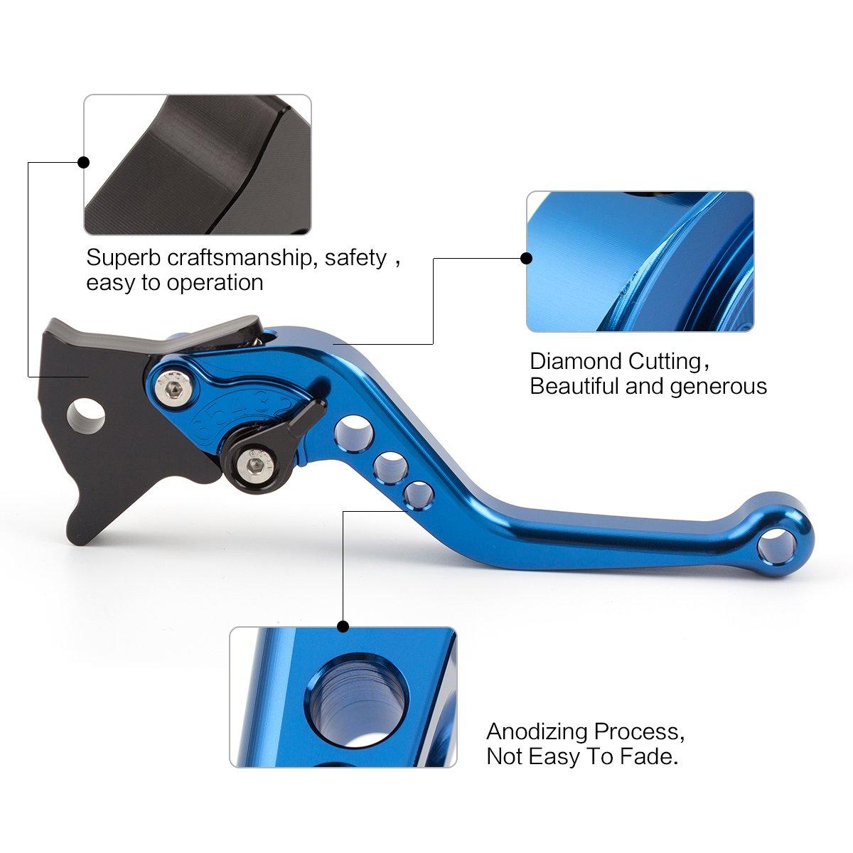 Motorrad-CNC-Kurzbremskupplungshebel 6 Positionen einstellbar f/ür Yamaha 2008-2013 YZF 125r 2010-2016 WR125X WR125R Blau mit Schwarz