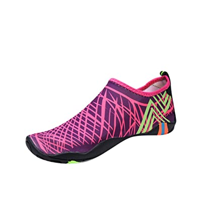 Men and Women's Barefoot Quick-Dry Water Sports Aqua Shoes Rose Red 45-46