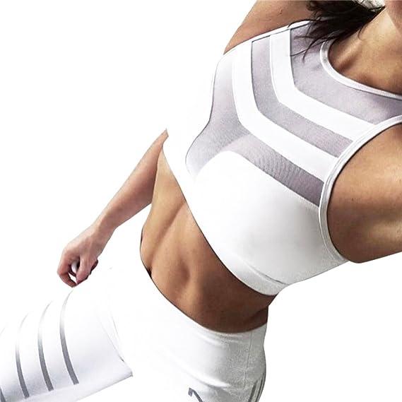 sujetadores push up, sujetadores tallas grandes deportivos fitness sport de malla y patch Mujer Tank de entrenamiento Stretch Tops Chaleco acolchado sin ...