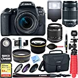 Canon EOS 77D 24.2 MP DSLR Camera + 18-55mm IS STM & 55-250mm IS II Lens Kit + Accessory Bundle 64GB SDXC Memory + DSLR Photo Bag + Wide Angle Lens + 2x Telephoto Lens +Flash+Remote+Tripod