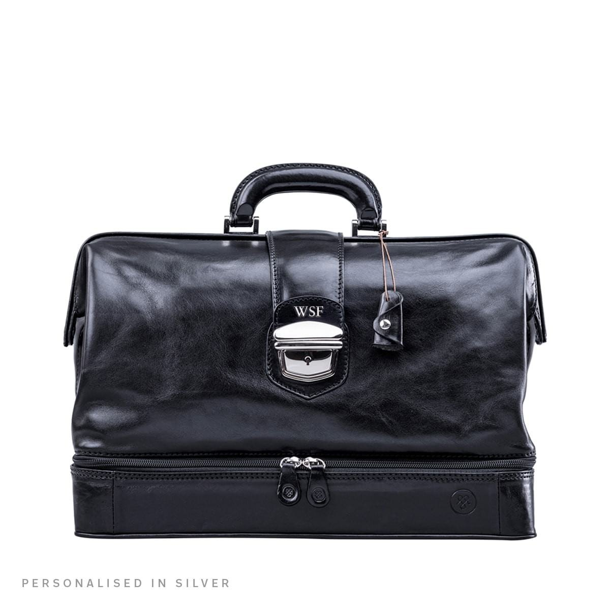 Maxwell Scott Personalized Luxury Black Leather Medical Bag (The DonniniL) - Large