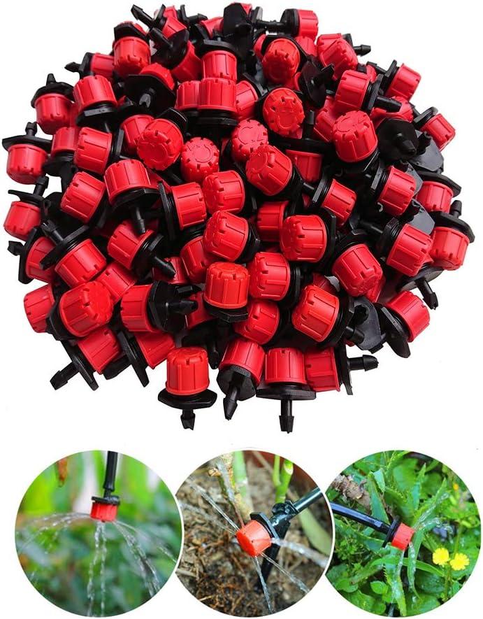 Landrip 100 Unids 1/4 Pulgadas Ajustable Micro Sistema de Irrigación por Goteo Riego Rociadores Anti-Obstrucción Emiter Goteo Red Garden Supplies