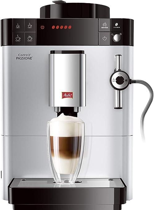 Melitta Caffeo Passione-Cafetera automática, 1400 W, Color Negro y Gris, 1000 W, 1.2 litros, plástico, Plata