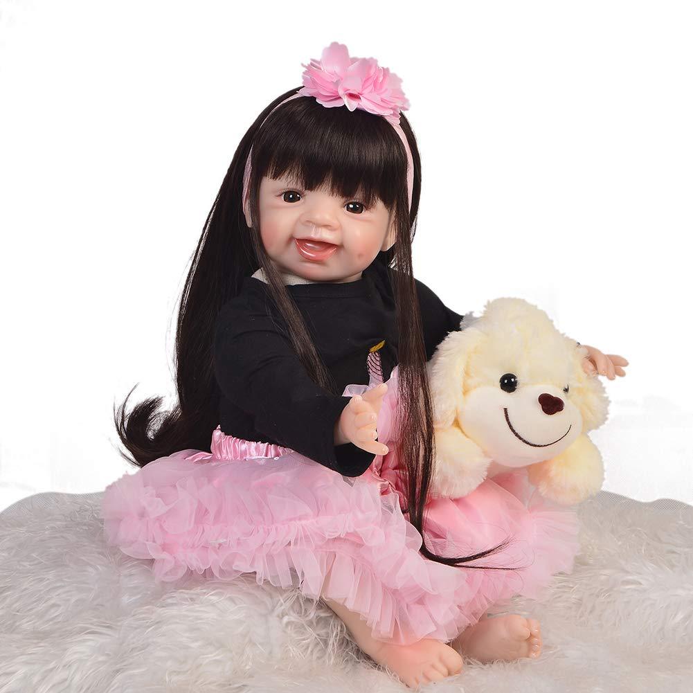 DMZH 55cm Stoff Karosserie Mädchen Reborn Babypuppen Baby Puppe Realistische Neugeborenes Simulation Lebensechte Weichkörperpuppe Kinder Spielzeug Geburtstag Weihnachten Geschenke
