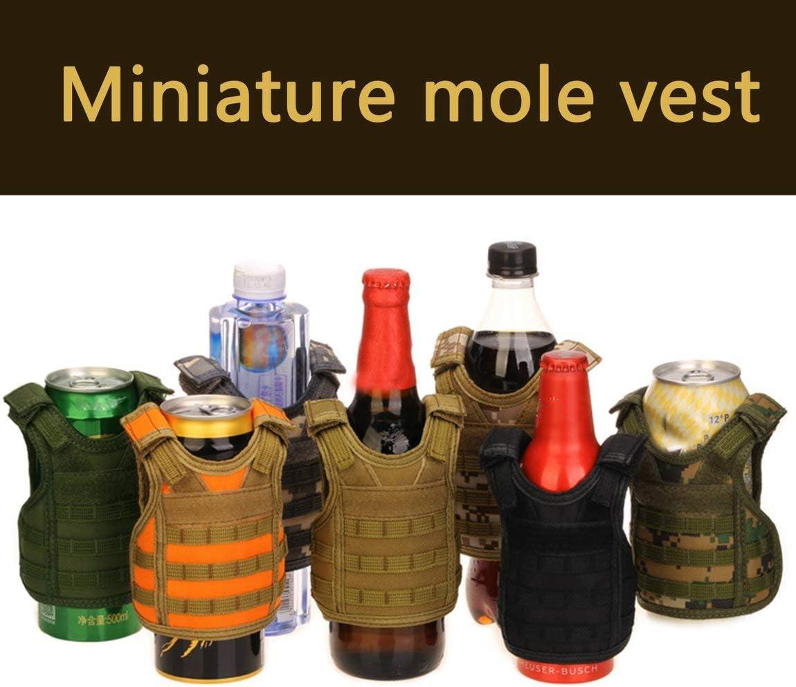 Farbe: grau 73JohnPol Tactical Vest Schicht Military Bierflasche Abdeckung Getr/änkek/ühler Mini Molle Weste verstellbare Schultergurte f/ür Bottle Can