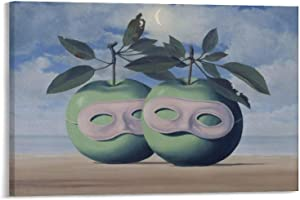 QDHC Painting Poster Rene Magritte Apple Posters Wall Art Painting Canvas Gift Living Room Prints Bedroom Decor Poster Artworks 12×18inch(30×45cm)