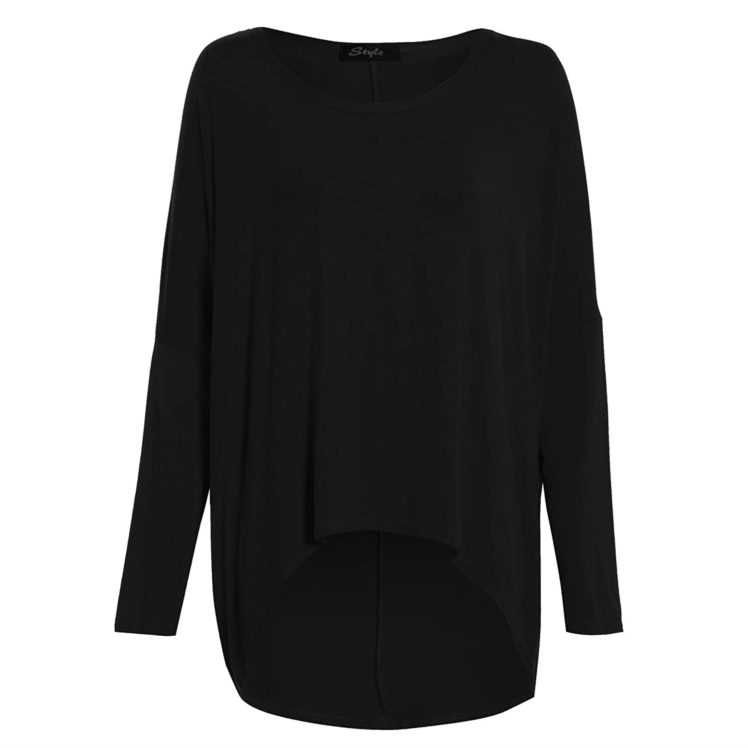 Womens Ladies Oversized Baggy Stretchy Off Shoulder High Low Dip Dipped Hem Top BE JEALOUS