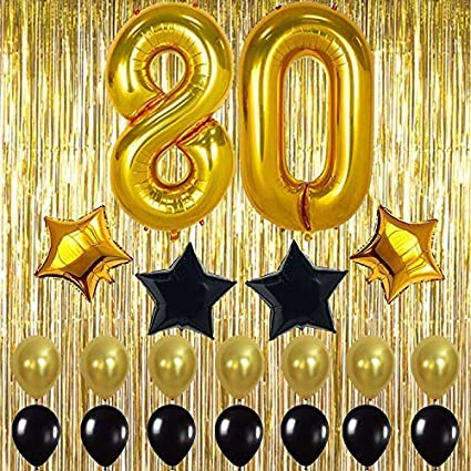 Gold 80th Birthday Decorations Large Shiny Fringe Foil Curtain Backdrop