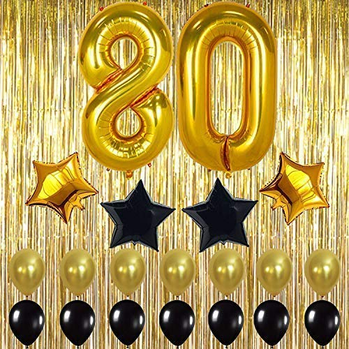Gold 80th Birthday Decorations, Large, Shiny Gold Fringe Foil Curtain Backdrop   80th Birthday Party Supplies Kit   80 Balloons   80th Birthday Party Decorations   80 Party Decor for 80 Birthday