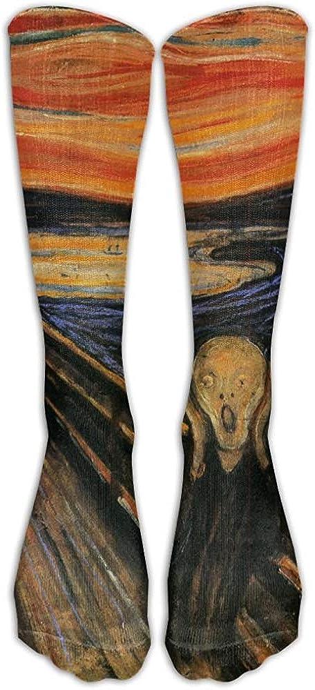 NA Edvard Munch The Scream Athletic Tube Medias Mujeres 'Hombres' Clásicos Calcetines hasta la rodilla Calcetines largos deportivos Talla única