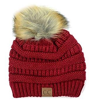 Motobear Women's CC Beanie Soft Stretch Cable Knit Fur Pom Pom C.C Beanie  Hat (Burgundy) at Amazon Women's Clothing store: