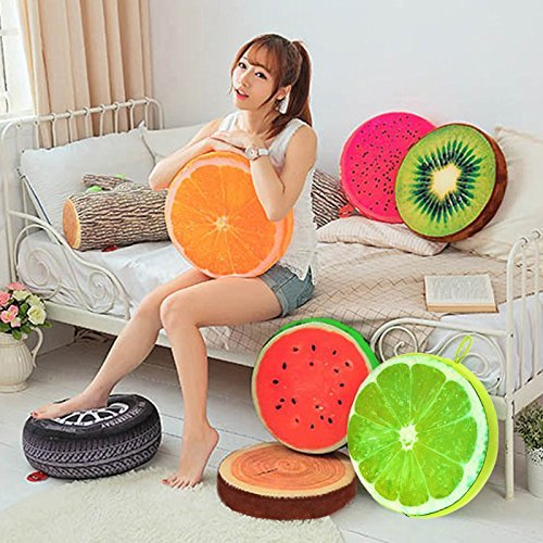 High-Season 3D cartoon fruit pillow, back office chair printing, decorative sofa cushion, throw pillow for sleeping and watching TV. ( Orange )