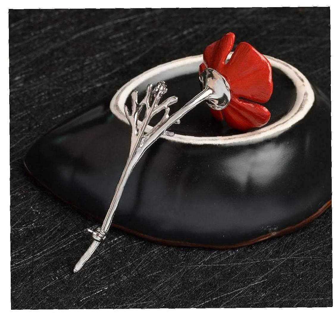 Aisoway Unisex Poppy Spilla Fiore di Cristallo Rosso Spille Remembrance Giorni da Regalo per La Coppia del Nastro