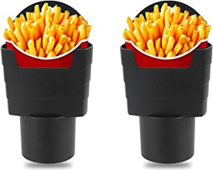 MOODCOME 2 Pieces Car French Fry Cup Holder Black Drink Beverage Fast Food Holders Plastic Phone Mount for Cars Boats Truck