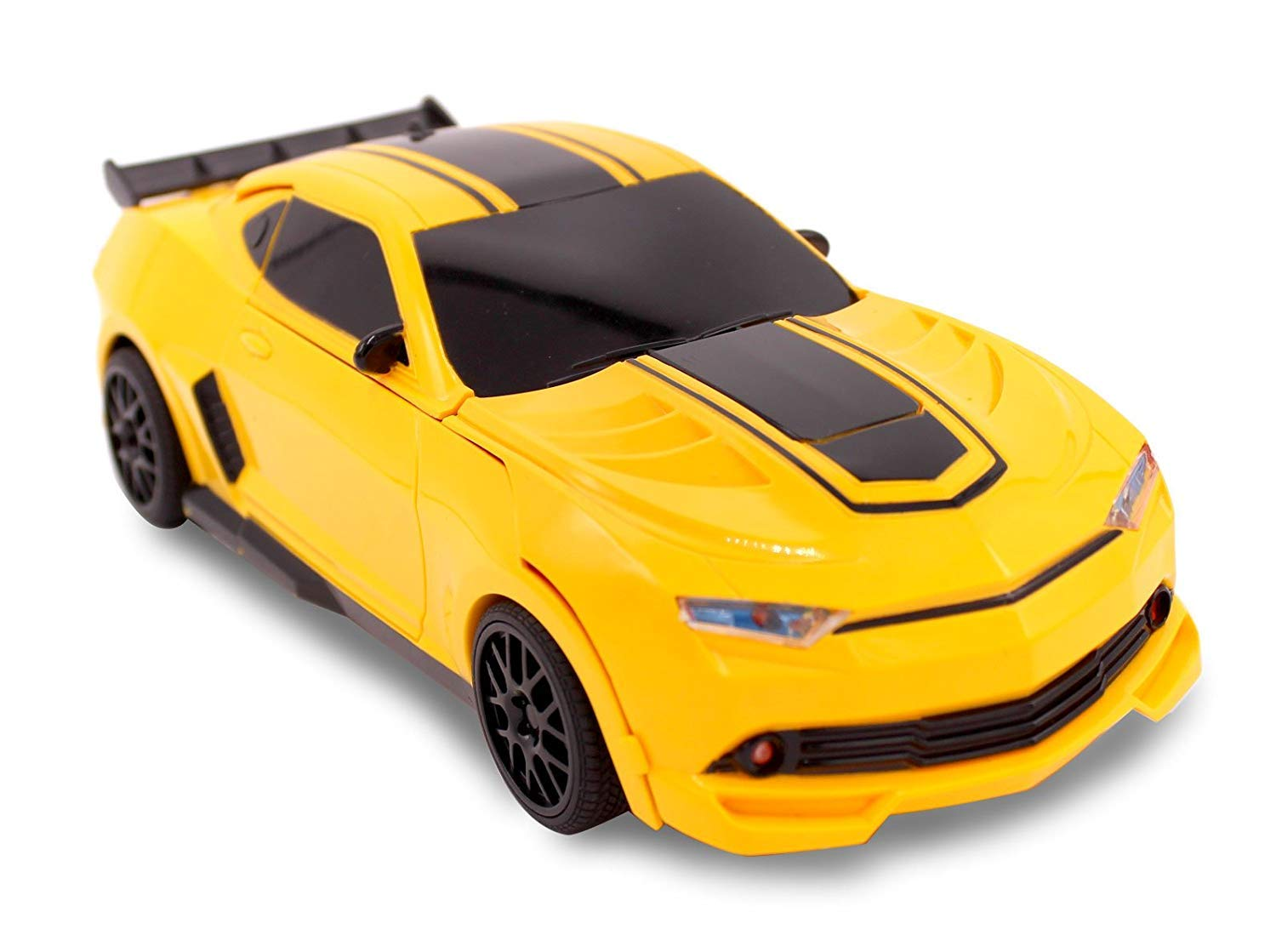 Kids RC Toy Transforming Robot Remote Control (27 MHz) Sports Car One Button Transformation Realistic Engine Sounds 360 Speed Drifting 1:22 Scale Toys For Boys (Yellow) by Transformania Toys (Image #2)