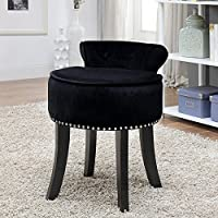 Inspired Home Taylor Velvet Contemporary Nail Head Trim Rolled Back Vanity Stool, Black