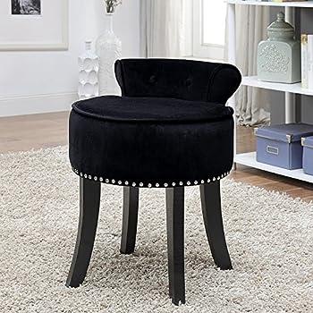 inspired home taylor velvet nail head trim rolled back vanity stool black