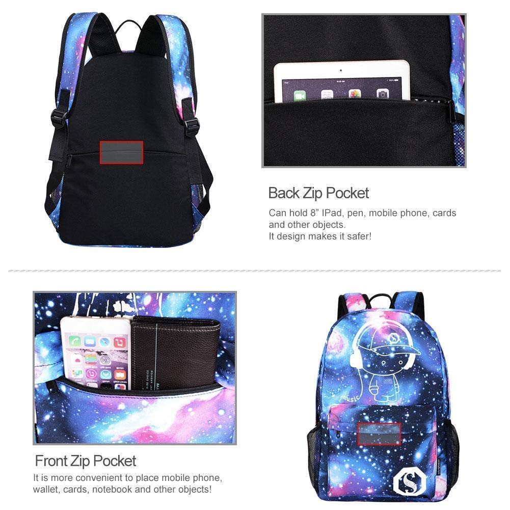 Luminous Backpack with USB Charging Port and Anti-Theft Lock & Pencil Case, Sky Anime Cartoon Unisex Casual School Daypack Bookbag Travel Laptop Backpack by ZWWZ (Image #6)