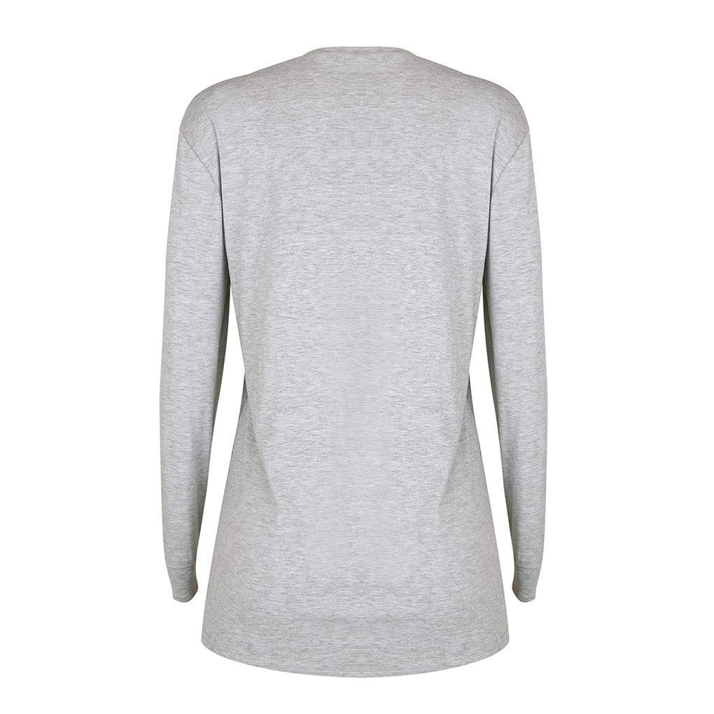 12fa3d403f5 Amazon.com  Halloween Tees Long Sleeve Pumpkin Print T Shirt Round Neck  Casual Loose Tops for Women  Clothing