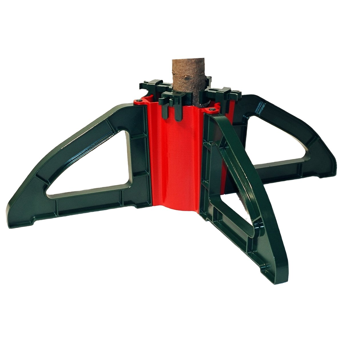 Omega Christmas Tree Stand- No Screws |Unbreakable Nylon Clamps |Holds up to a 10' tree | Holds 1 gallon of water| Collapsible for easy storage